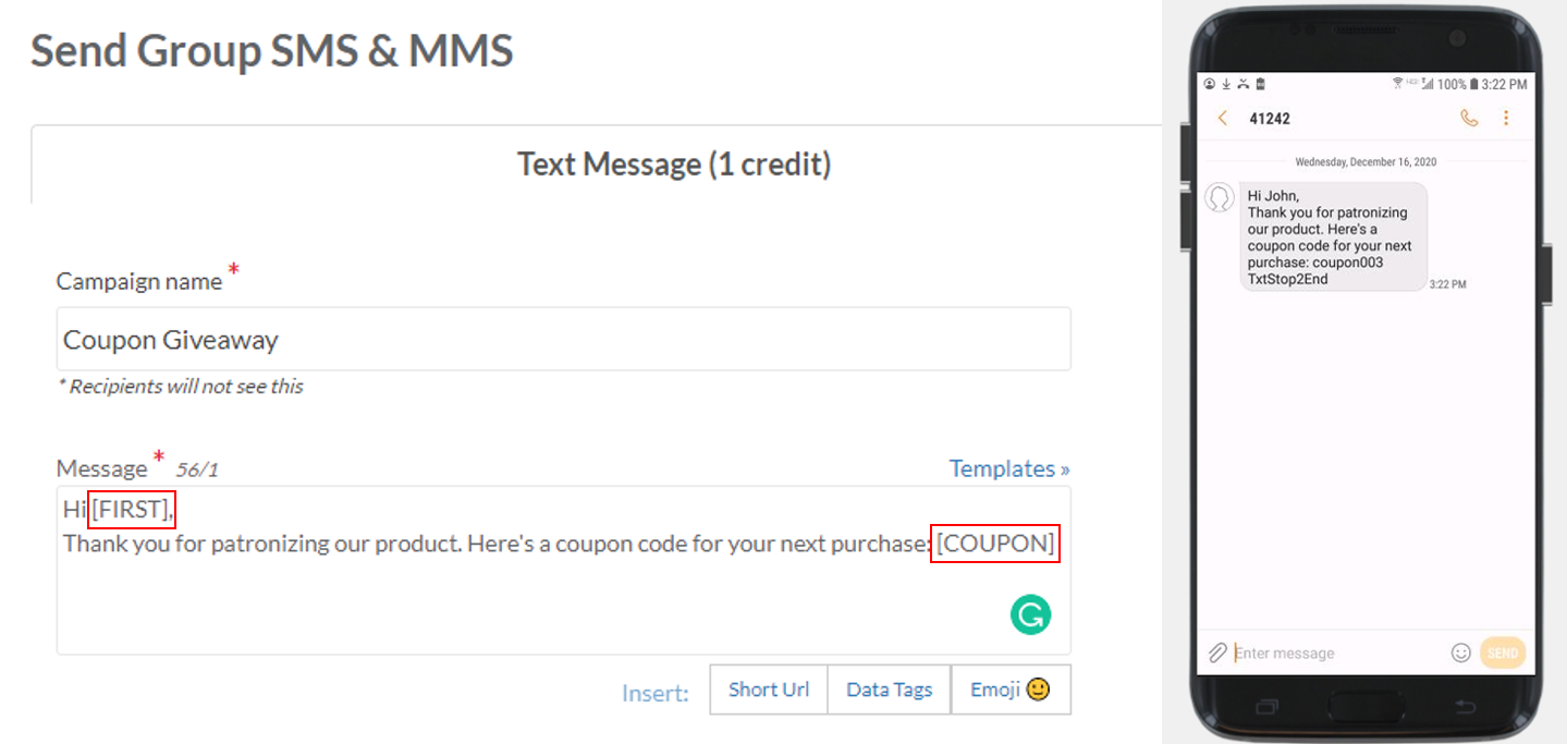 coupon code data tag SMS marketing