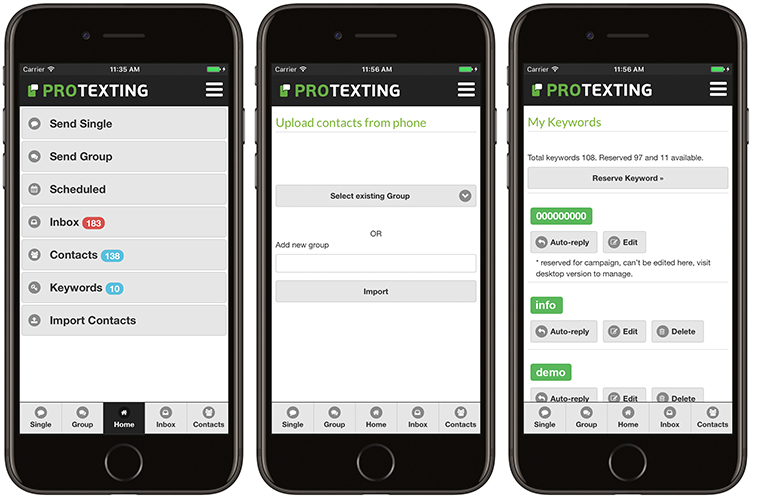 iOS App for ProTexting - access your account easily On-The-Go