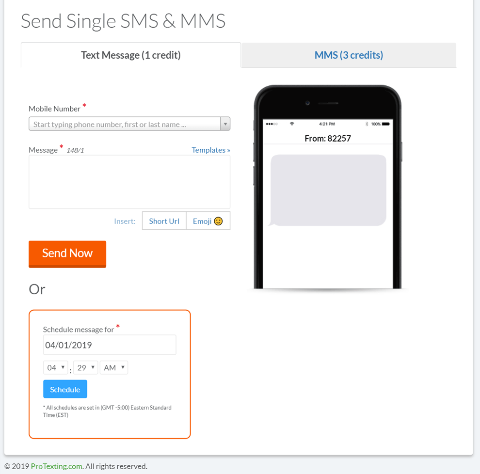 Send SINGLE SMS via ProTexting messaging platform