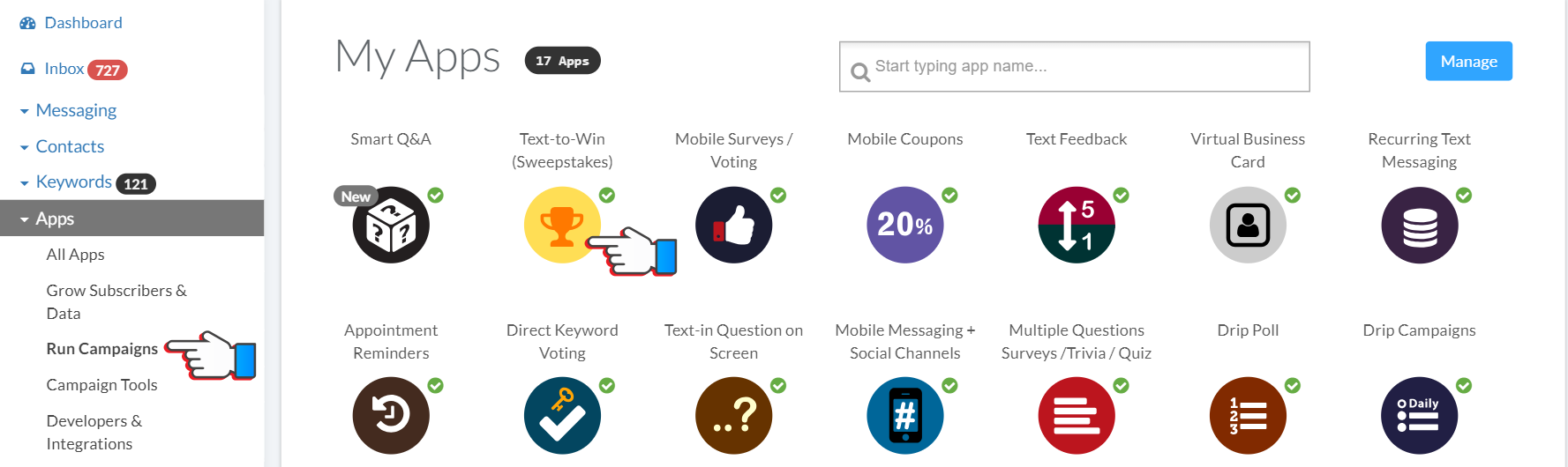 Mobile Sweepstakes and Text 2 Win Campaigns on ProTexting platform
