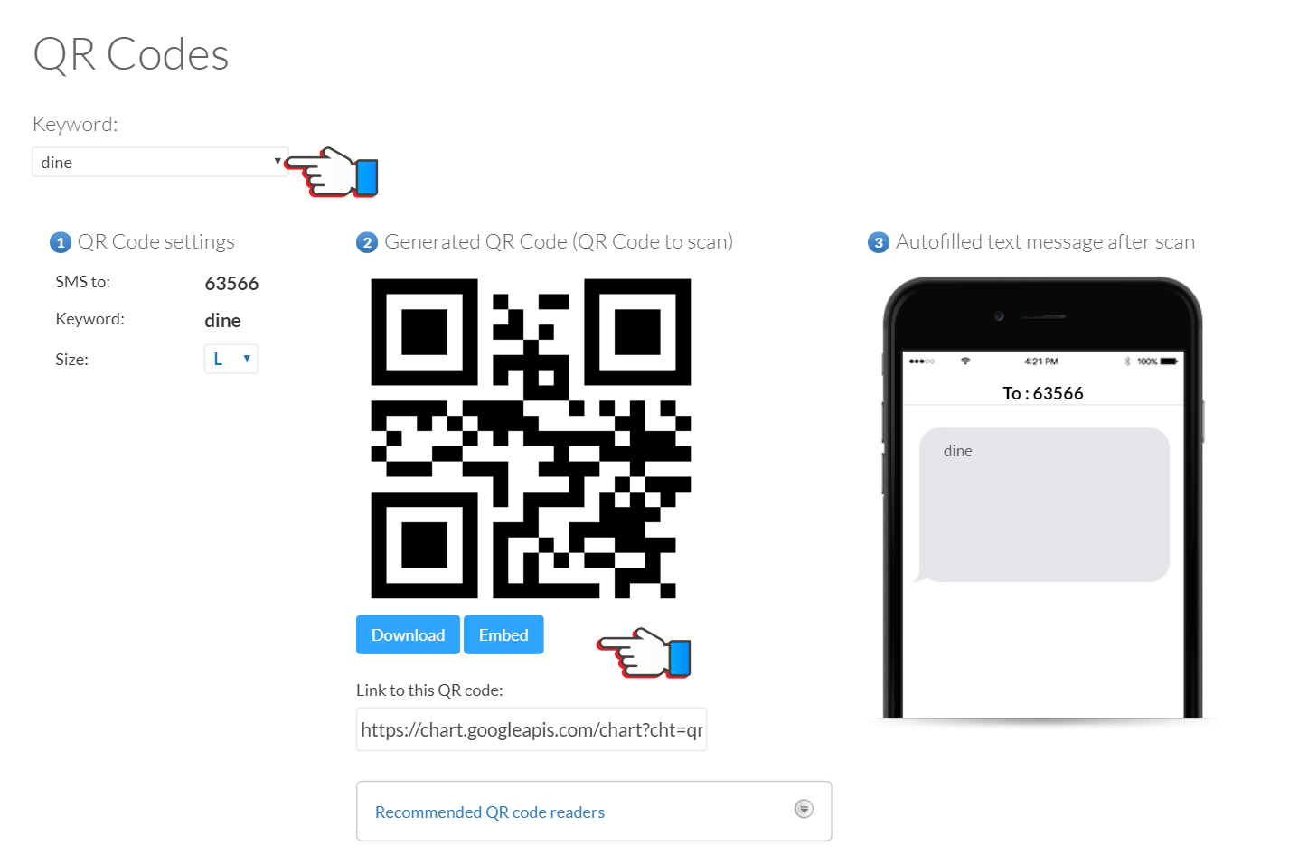 QR codes for text message campaigns via SMS and MMS