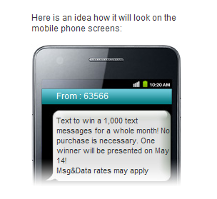 Sweepstakes Text Example